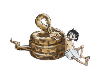 Boy Mowgli and python of Ka