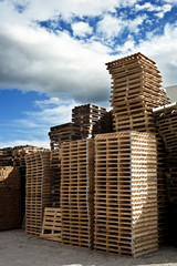 Stack of industrial wooden pallets