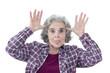 canvas print picture - Seniorin macht Grimassen, streckt die Zunge raus & hat Spaß