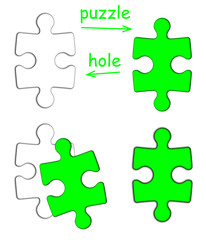 Puzzle piece and puzzle hole isolated on white background