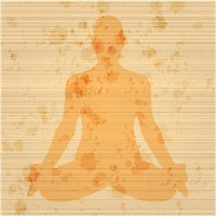 Ein Yogi im Lotussitz auf ausgefranstem, antikem Papier