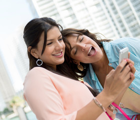 Girls using app on smart phone