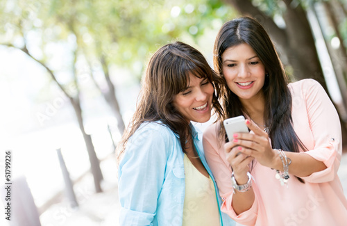 Women using a smart phone