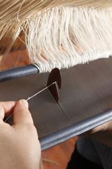 weaving on handloom