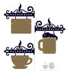 wooden decorative signs for cafe with cup and beer icons