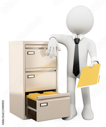 3D white people. File cabinet