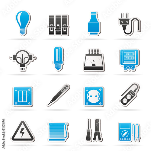 Electrical devices and equipment icons - vector icon set
