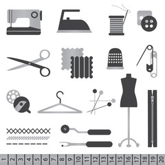 Black and silver sewing icons