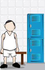 man in locker room