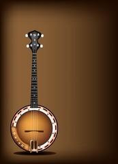 A Beautiful Banjo on Dark Brown Background