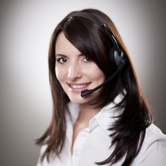 Friendly beautiful call centre operator