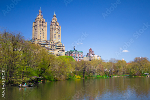 View of lake at Central Park NYC  in Spring