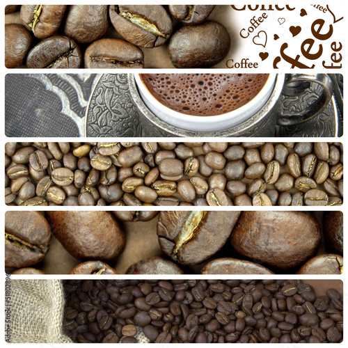 Collage with Turkish coffee and coffee beans