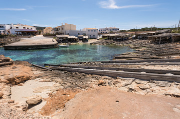Es Caló port in Formentera island boats railways