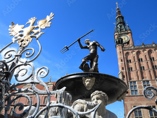 Neptune Fountain and city hall in Gdansk, Poland