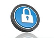 Lock round icon in blue