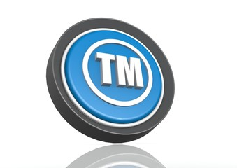 Trade mark round icon in blue