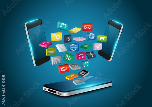 Mobile phone applications icons 3D