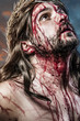 calvary jesus, man bleeding, representation of passion with blue