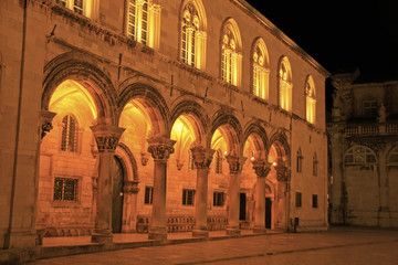 Sponza Palace at night, Dubrovnik, Croatia