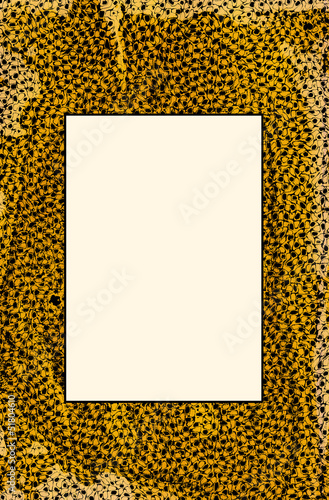 Gold and black message board