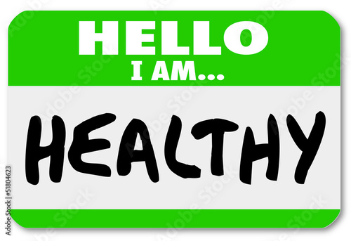 Hello I Am Healthy Words Nametag Sticker Physical Fitness