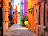 Colorful street in Burano, near Venice, Italy - Fine Art prints