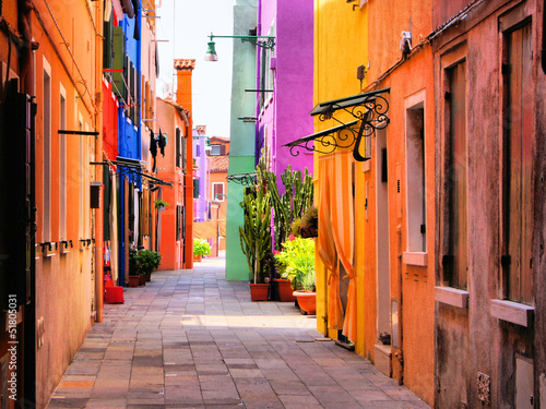 Aluminium Venetie Colorful street in Burano, near Venice, Italy