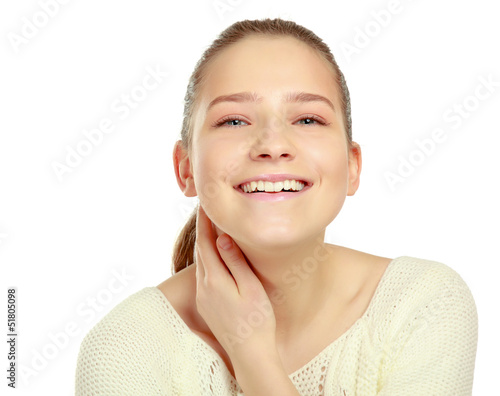 A portrait of young smiling woman