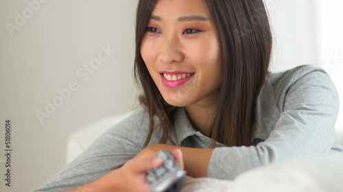 Chinese woman watching tv
