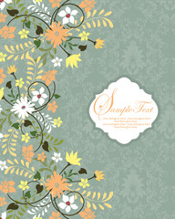 vintage blue damask invitation with floral elements