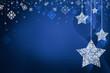 Festive dark blue Christmas background with stars