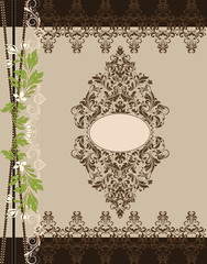 brown floral ornate vintage frame