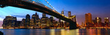 Fototapety Manhattan panorama with Brooklyn Bridge at sunset in New York