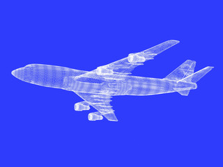 model of jet airplane on blue background