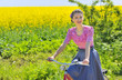 girl on bike in spring time