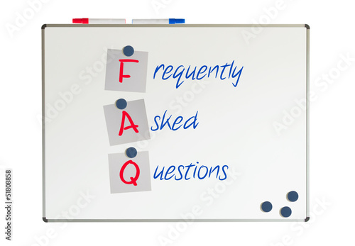 FAQ written on a whiteboard