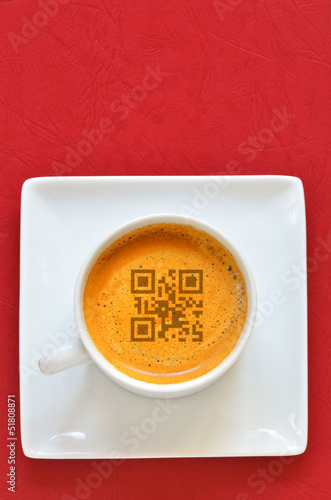 Cup of espresso and smartphones code