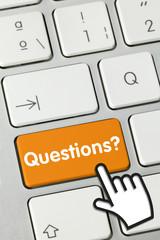 Questions? keyboard key Finger