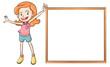 A girl holding an empty wooden blank board