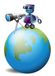 A robot with a telescope above the planet earth
