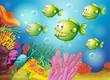 A group of green piranhas under the sea