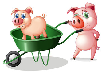 Two pigs with a green cart