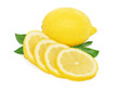 Ripe lemon and slices with green leaves on white background