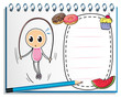 A notebook with a drawing of a girl playing with the jumping rop