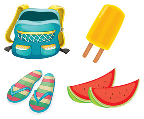 A backpack, a pair of slippers and foods for refreshment