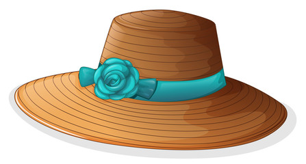 A hat with blue ribbon