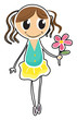A young girl holding a flower