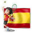 A tennis player in front of the Spanish flag