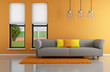 Minimalist orange  living room